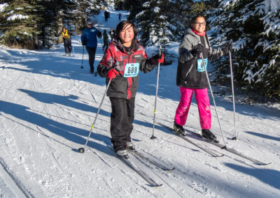 1st Place Fun Ski Events: Frankie and Raylene happy to be at the top of the climb by David Ward