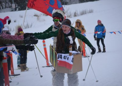 3rd Place Fun Ski Events: Winning costume for East relay: Service Viking Ship 1 by Laarni Power